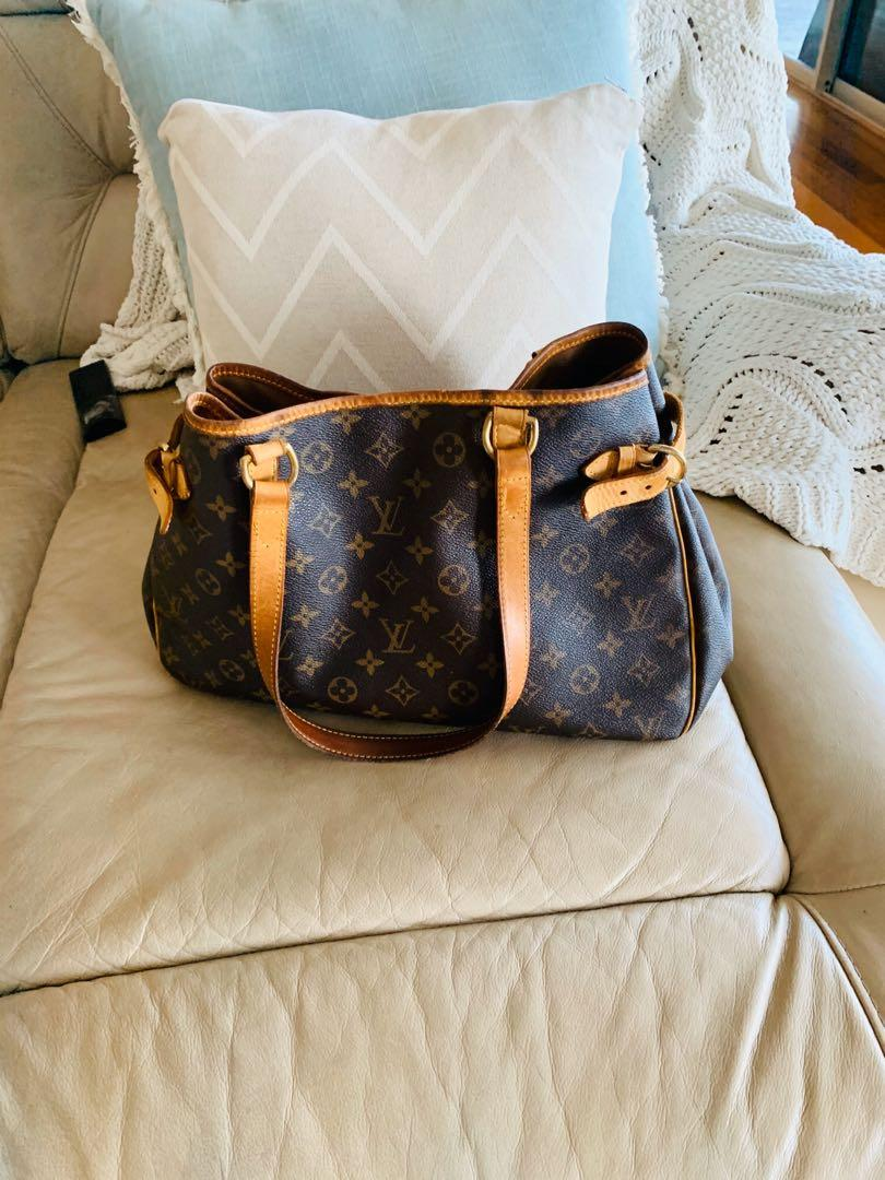 Lv Authentic LOUIS VUITTON Monogram Canvas Leather Batignolles Handbag P