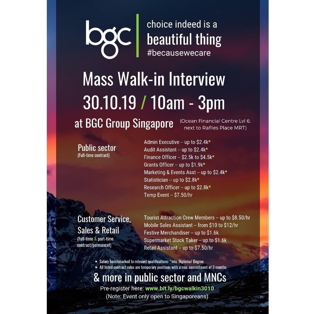 MASS WALK-IN INTERVIEWS ON 30.10.19