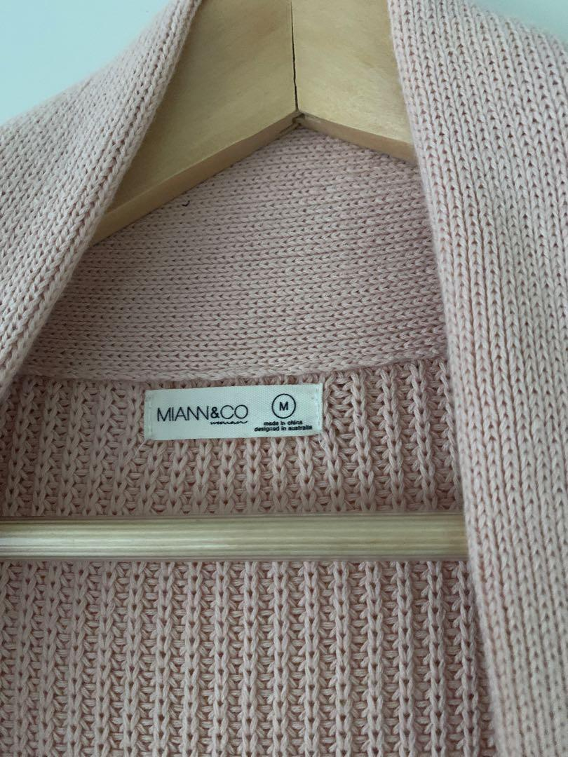 Miann and Co - Chunky Knit Cardigan in Dusty Pink - Size M