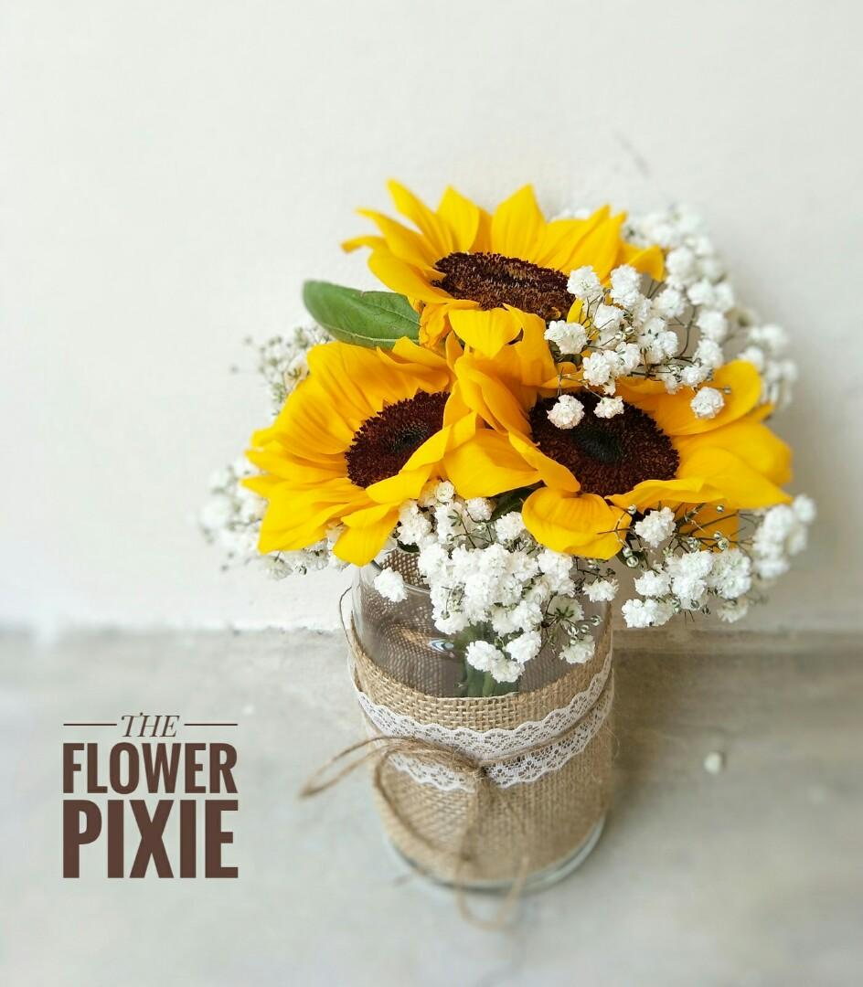 MJ04: Mason Jar Sunflowers with Baby's Breathes|Bouquet|Birthday Flower|Anniversary Flower|Proposal Flower|Graduation Flower|Florist|Flower Delivery