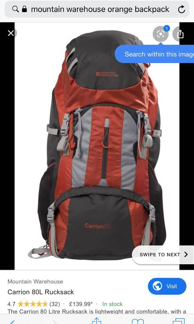 Mountain warehouse 8L backpack ideal for travelling