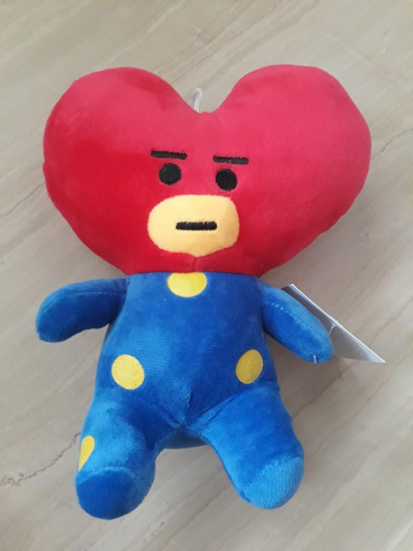 New cute red colour heart shape line friends bts bt21 tata soft plush toy plushie, Toys & Games ...