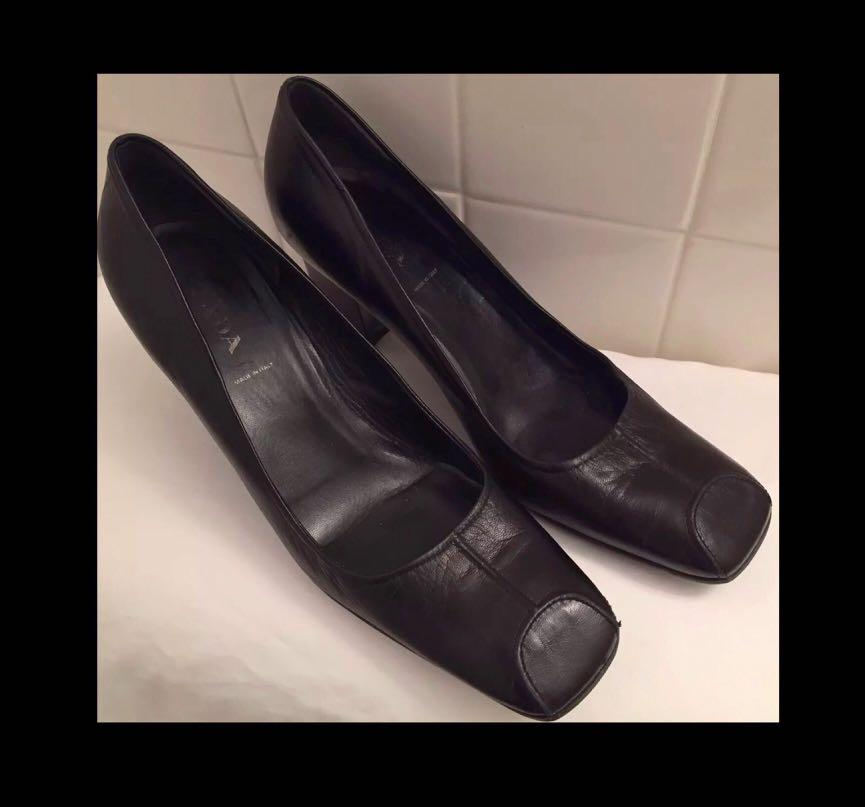 Prada Shoes Black Leather Modern Low Pump Heels Square Toe