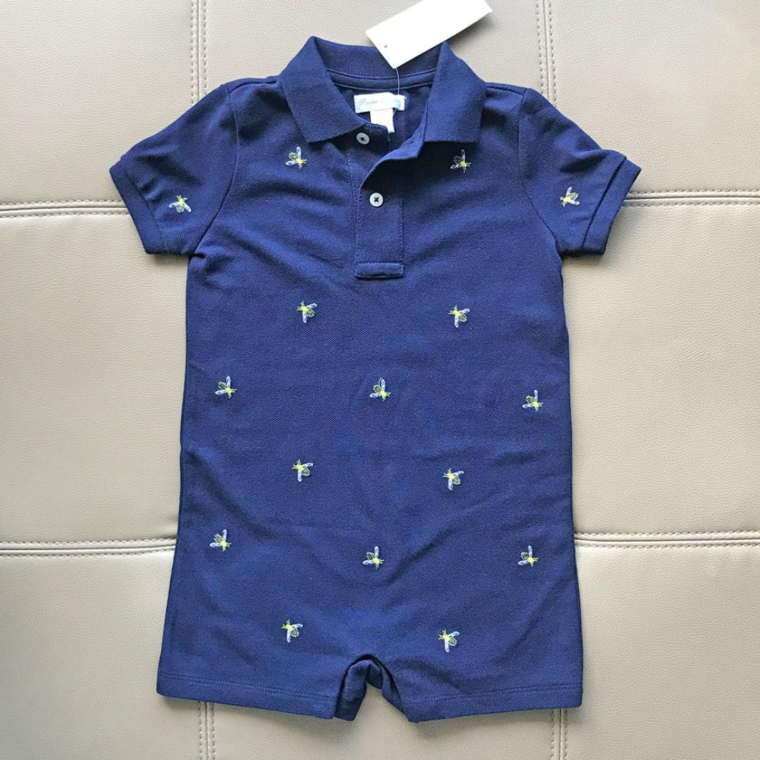 RALPH LAUREN Baby Boy Navy Blue Bee Embroidered Polo One Piece Shortall Overall 12M