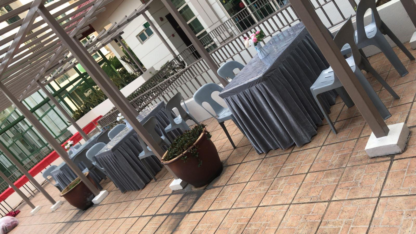 [Rent] Cheap Tables Chairs Stools Rental Deliver Setup Event Function Wedding Birthday Party Flee Market Roadshow Kenduri Buffet BBQ Barbecue Barbeque Open House Celebration Table Cloth Chair Cover Satin Polyester Rectangle Table Round Table Deco