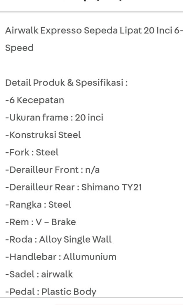 "Sepeda lipat airwalk ACE hardware 20"""