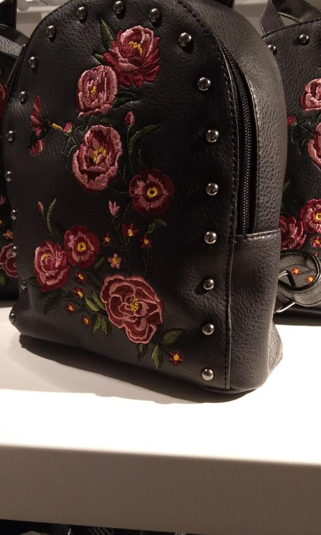 Small red flowers backpack