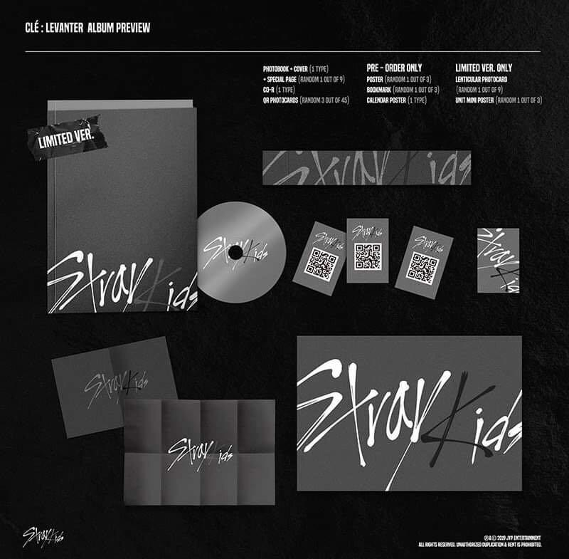 Stray Kids - Cle : LEVANTER Limited Edition - PREORDER/NORMAL ORDER/GROUP ORDER/GO + FREE GIFT BIAS PHOTOCARDS (1 ALBUM GET 1 SET PC, 1 SET GET 9 PC)