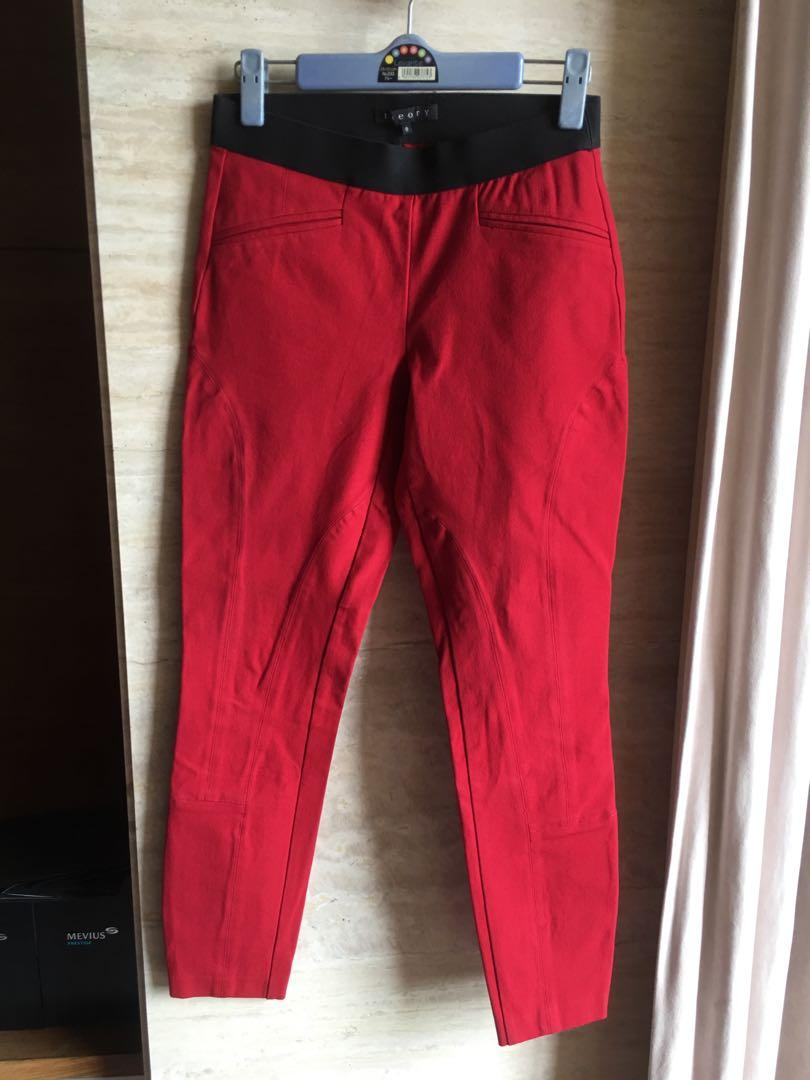 theory 紅色彈性長褲0號