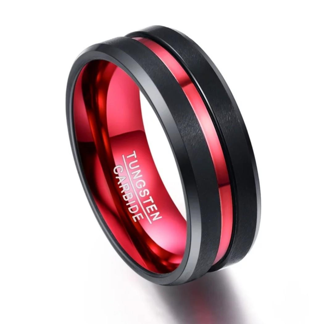 Tungsten carbide black red men / women ring