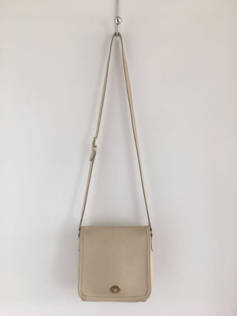 Vintage Coach beige 9076 and Fossil gold leather crossbody purse bag