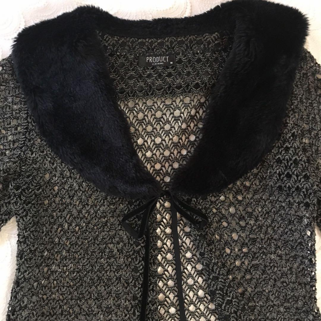 Vintage Style Tie-Up Crochet Cardigan with Faux Fur Collar