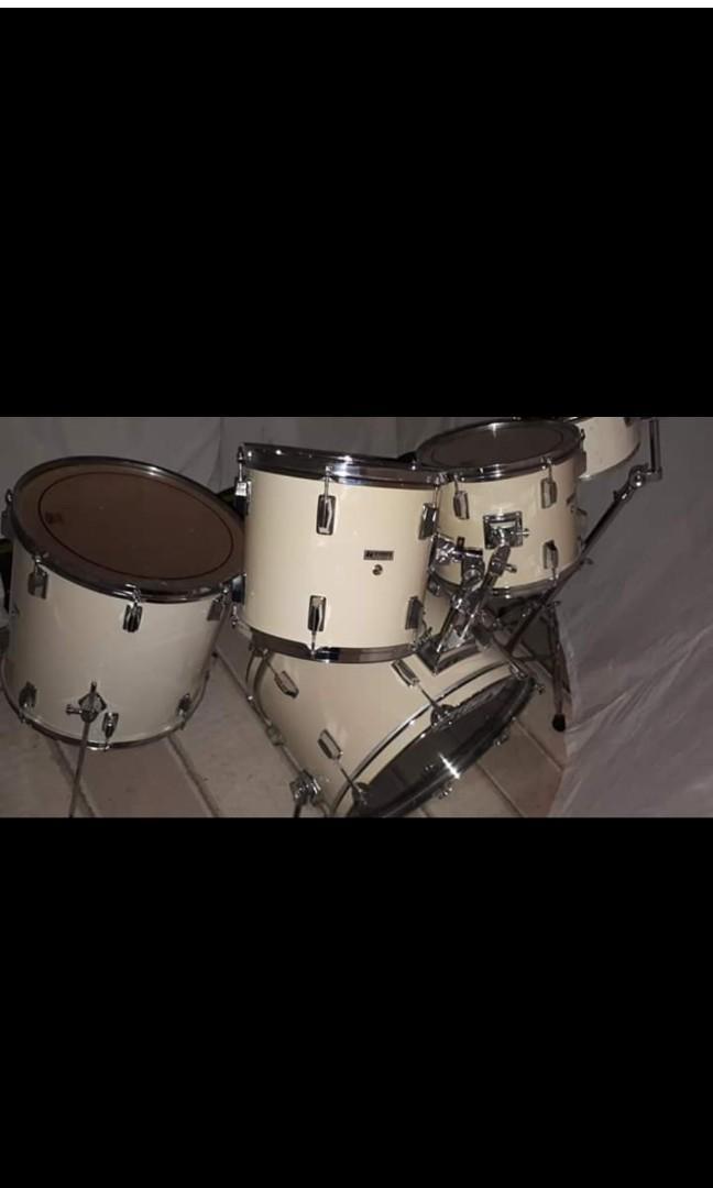 White Westbury drum shell pack with Slingerland 10 inch hi tom