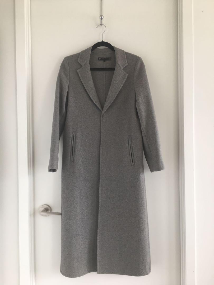 XS North Face 800 down bubble vest and XS Zara long grey pea coat jacket