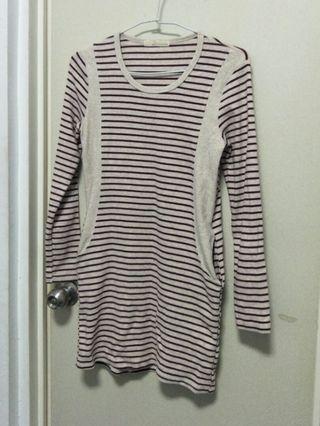 修身條紋連身裙 連衣裙 淺灰/紅條紋
