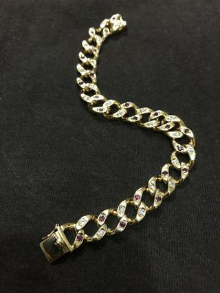 18k鑽石紅寶金手鍊 30公克8錢多 20公分