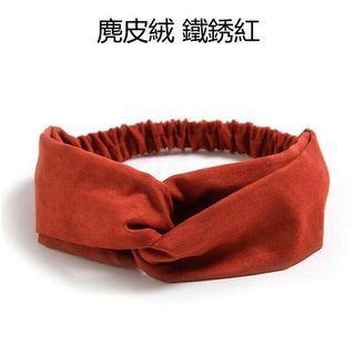 紅色二手網紅同款 麂皮絨交叉髮帶  素色髮圈 髮飾 髮箍鬆緊帶 髮圈  髮帶 頭帶