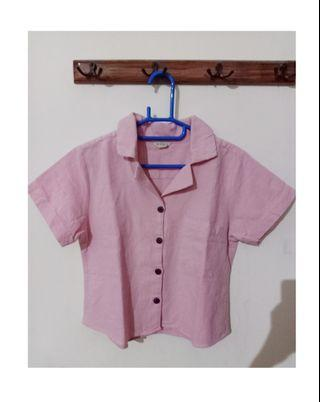 Beatrice Blouse Pink Crop top