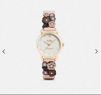 Coach Delancey with Floral Appliqué Nude Pink Leather Watch #W1540