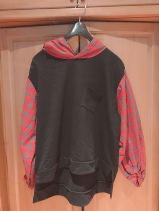 紅格子燈籠袖上衣 #五折清衣櫃
