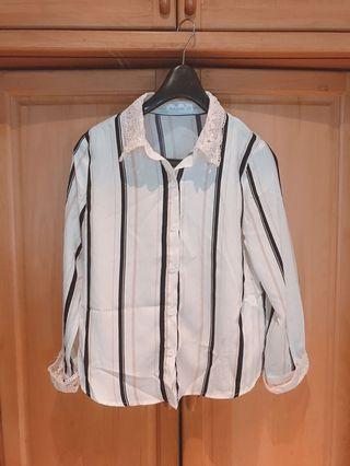 條紋蕾絲薄襯衫 #五折清衣櫃