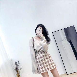 Checkered Skirt Korean