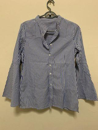 Stripes Blouse / Shirt / Tops with Bell Sleeve
