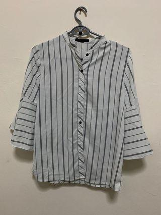 PURE Stripes Blouse / Shirt / Tops with bell sleeve