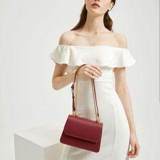 Tas Original charles & keith sling bag red and black