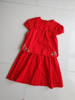 Poney Red Cheongsam Dress