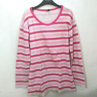 Kaos Stripe Pink Lengan Panjang