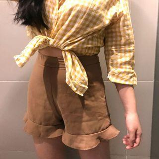 Ruffle Brown Shorts