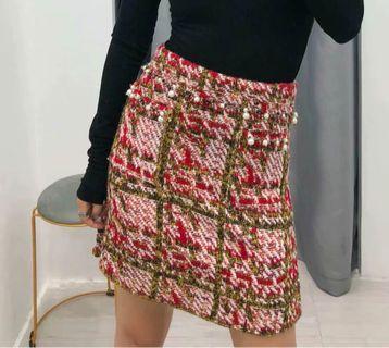 OshareGirl 10 歐美女士彩線針織短裙窄裙鬆緊腰圍釘珠口袋