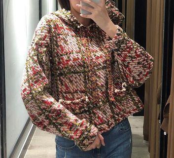 OshareGirl 10 歐美女士連帽彩線針織上衣針織釘珠