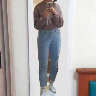 直筒褲 九分牛仔褲 淺藍