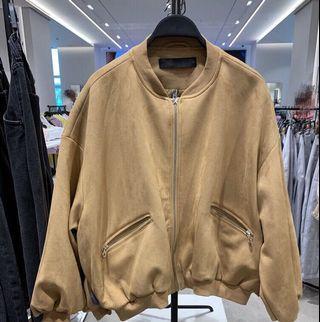 OshareGirl 10 歐美女士夾克外套純色麂皮絨棕色
