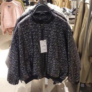 OshareGirl 10 歐美女士夾克外套黑藍彩格亮面