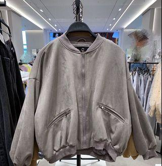 OshareGirl 10 歐美女士夾克外套純色麂皮絨深灰色
