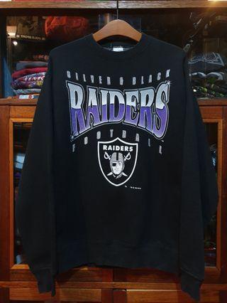 Sweatshirt Vintage 90s Silver & Black Raiders Football