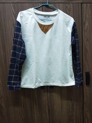 長袖拼接造型上衣#五折清衣櫃