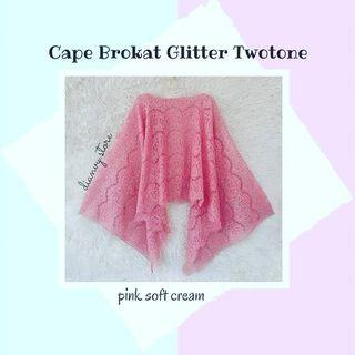 Cape brukat glitter two tone soft pink