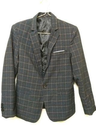 黑色方格修身西裝外套