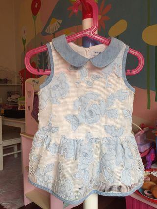Washed Denim Patch Lace Dress for 18 months old
