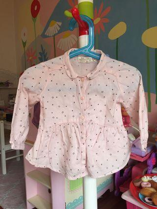 Twinkle Stars Shirt in Baby Pink for 18 months old