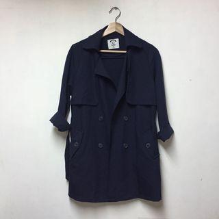 《免運》深藍大衣外套