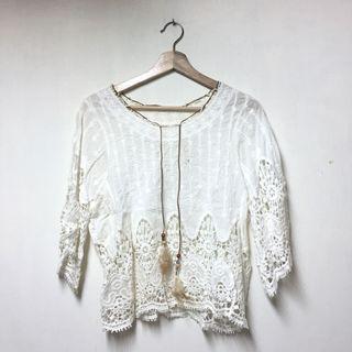 《免運》波希米亞風白色上衣#五折清衣櫃