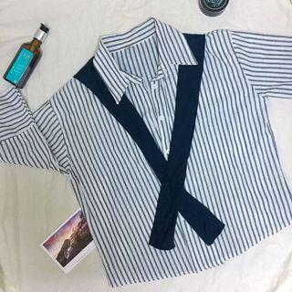 《免運》條紋披肩襯衫上衣#五折清衣櫃