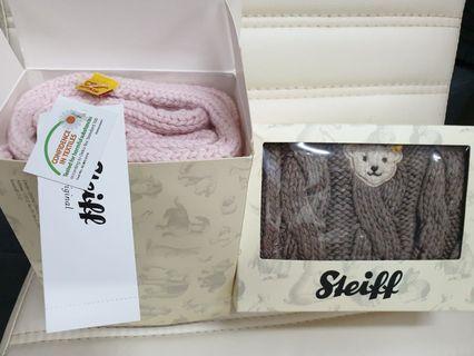 Seeiff德國金耳釦泰迪熊羊毛圍巾(粉色,咖啡色)
