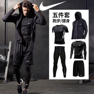 全新現貨Nike機能速乾5件套健身跑步訓練服UA安德瑪男士運動服運動外套運動褲