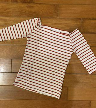 棉質條紋一字領上衣(紅)
